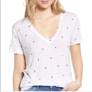 NWT-RAILS-Cara White/Strawberry T-Shirt- Size XXS